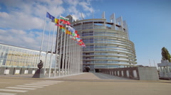 4K European Parliament in Strasbourg Stock Footage