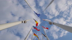 4K Flags in front of The European Parliament in Strasbourg - stock footage
