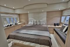 Overview of Master Bedroom Aboard Abacus 52 Motorboat Stock Photos