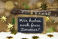 We have still free rooms: tourist information for german guests on christmas. Stock Photos