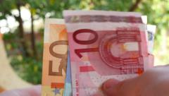 Hands Recount Banknote Euros 4k Stock Footage