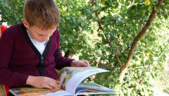 Boy Looking Picture Book Stock Footage