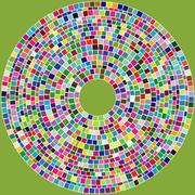 abstract spherical gold green pink squares - stock illustration