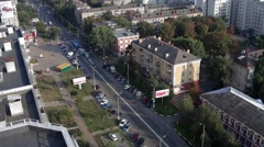 City traffic from the rooftop Stock Footage