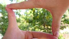 Hands Join Together To Make Finger Framing 4k Stock Footage