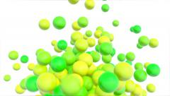 Different green colored balls in abstract motion - seamless (FULL HD) Stock Footage