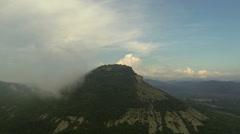Rain in the mountains. Cave city Tepe-Kerman, Crimea, Russia, Full HD Stock Footage