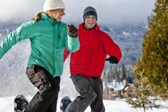 Close-up of Couple Snowshoeing, Whistler, British Columbian, Canada Stock Photos