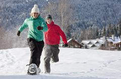 Close-up of Couple Snowshoeing, Whistler, British Columbia, Canada Stock Photos