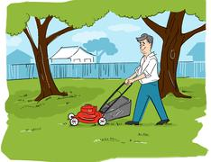 Illustration of Man Mowing the Lawn Stock Illustration