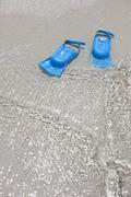 Blue Flippers in The Surf, Cayman Islands, Greater Antilles, Antilles - stock photo