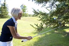 Golfer Trying to Retrieve Golf Ball From a Tree Stock Photos