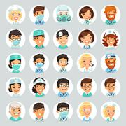 Doctors Cartoon Characters Icons Set2 - stock illustration