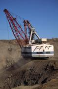 Stock Photo of Black Coal Mining, Removing Overburden, Open Cut Mine