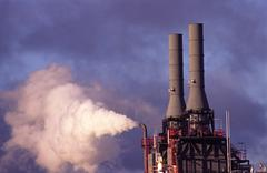 Air Pollution, Factory Chimney Emitting Fumes Stock Photos