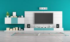 Contemporary living room with tv Stock Illustration