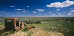 Rusted Car in Outback, Australia Stock Photos