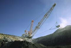 Stock Photo of Black Coal Mining, Dragline Removing Overburden, Australia