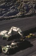 Black Coal Mining, Loading Coal Trucks, Australia - stock photo