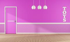 Pink playroom with door Stock Illustration