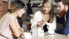 Woman showing engagement ring friends celebrating Stock Footage