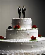 Two Grooms Wedding Cake Topper Stock Photos