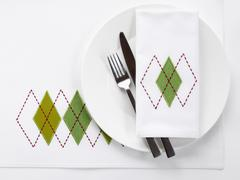 Table Place Setting with Argyle Pattern Stock Photos
