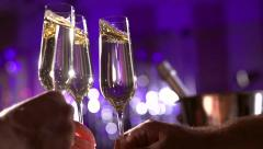 Toasting Champagne. Glasses with Sparkling Champagne - stock footage