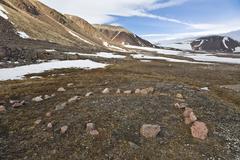 Inuit Archaeological Site, Craig Harbour, Ellesmere Island, Nunavut, Canada Stock Photos