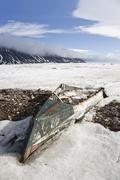 Abandoned Rowboat, Craig Harbour, Ellesmere Island, Nunavut, Canada Stock Photos