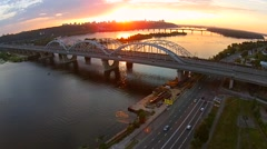 Kiev, Ukraine. Road bridge and Railway bridge over Dnieper river Stock Footage