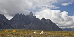 Tents at Talus Lake Campsite, Tombstone Mountain, Tombstone Territorial Park, Stock Photos