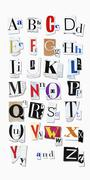 Letters of the Alphabet Cut Out of Magazine Pages Stock Photos