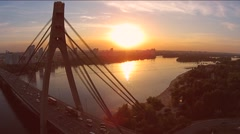 Kiev, Ukraine. Aerial view of Road bridge - Moscow Bridge over Dnieper river Stock Footage