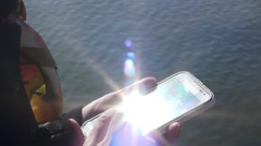 Smartphone Outdoors Woman's Hands Typing Text. Stock Footage