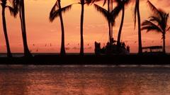 Sun setting in A-Bay in Hawaii Stock Footage