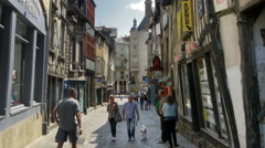 Rue Pont Aux Foulons - Rennes France - stock footage