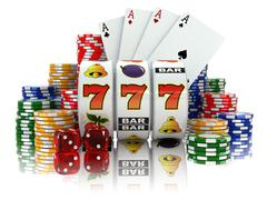 casino. slot machine with jackpot, dice, cards and chips. - stock illustration