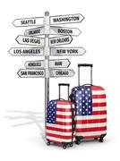 Travel concept. suitcases and signpost what to visit in usa. Piirros
