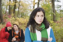 Woman Annoyed with Couple Stock Photos