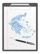 clipboard greece map - stock illustration