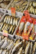 Dried Fish in Market, Chinatown, Vancouver, British Columbia, Canada Stock Photos