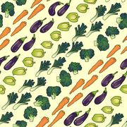 Seamless pattern of eggplant carrot broccoli pepper. Stock Illustration