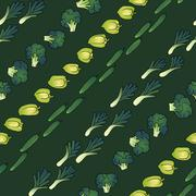 green seamless pattern of broccoli bell pepper and cucumber - stock illustration