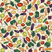 Stock Illustration of seamless pattern vegetables  cucumber eggplant garlic onion pepper paprika po