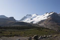 Glacier and Mountains, Columbia Icefield, British Columbia, Canada - stock photo