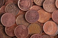 bulk canadian penny - stock photo