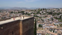 Ancient muslim arab fortress Alhambra in Granada, Spain. Stock Footage