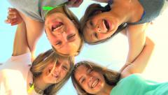 Friendship concept. Group of smiling friends staying together Stock Footage
