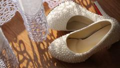 White Bridal Shoes with Pearls Stock Footage